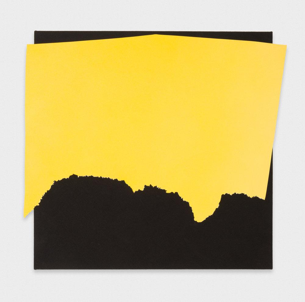 Kim Fisher  Magazine Painting (Medium Yellow Horizon)  2017 Oil on aluminum on dyed linen on panel 38h x 42w in KF031