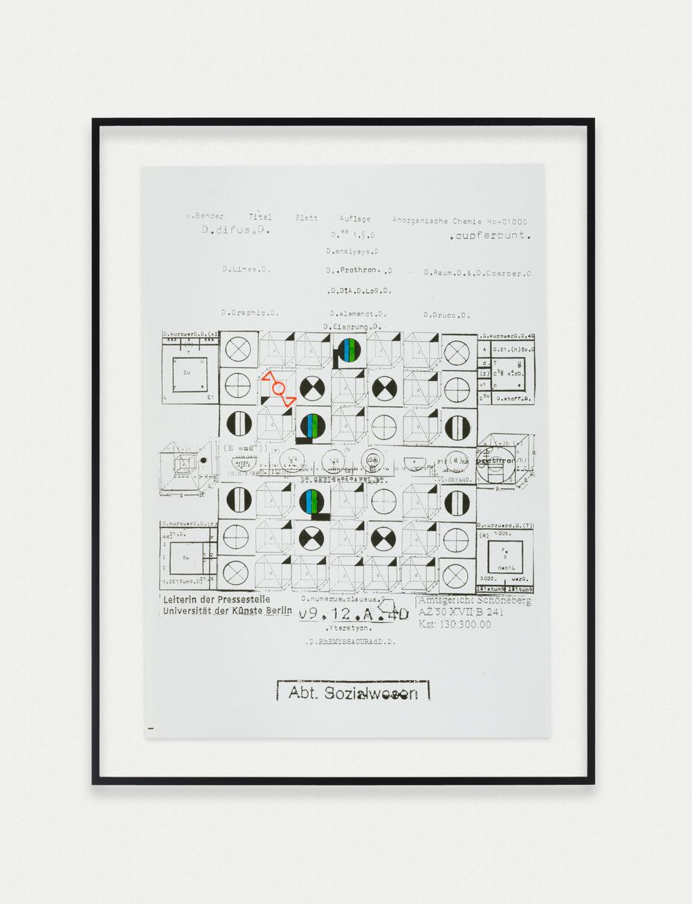 Adelhyd van Bender Untitled 1999-2014 Mixed media on photocopy 16.5 x 11.75 in (41.91h x 29.85w cm) AVB019