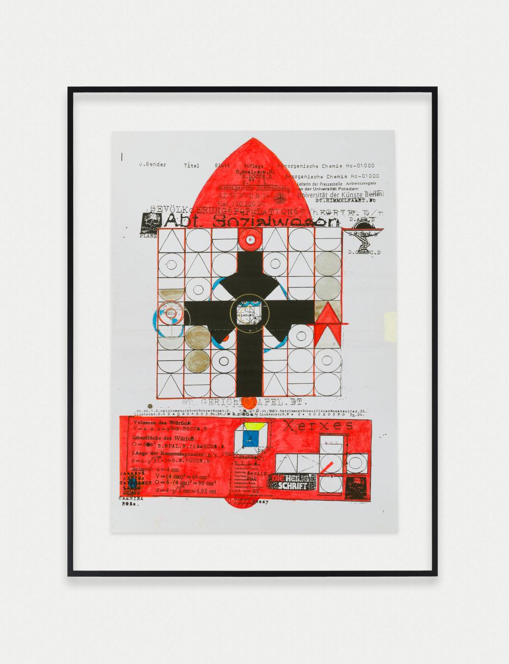 Adelhyd van Bender Untitled 1999-2014 Mixed media on photocopy 16.5 x 11.75 in (41.91h x 29.85w cm) AVB014