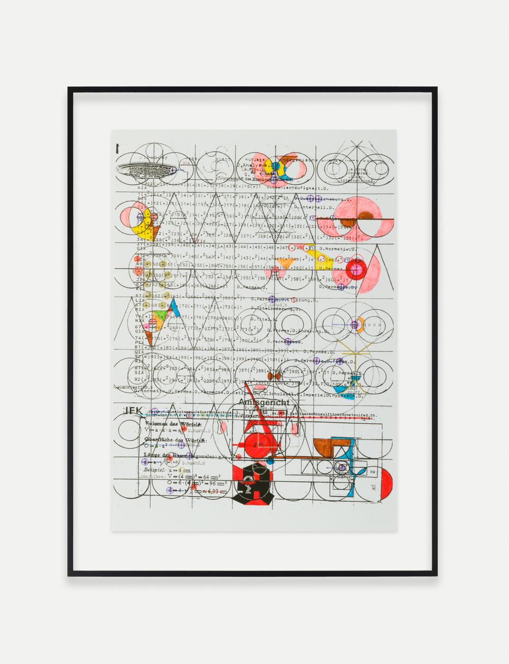 Adelhyd van Bender Untitled 1999-2014 Mixed media on photocopy 16.5 x 11.75 in (41.91h x 29.85w cm) AVB013