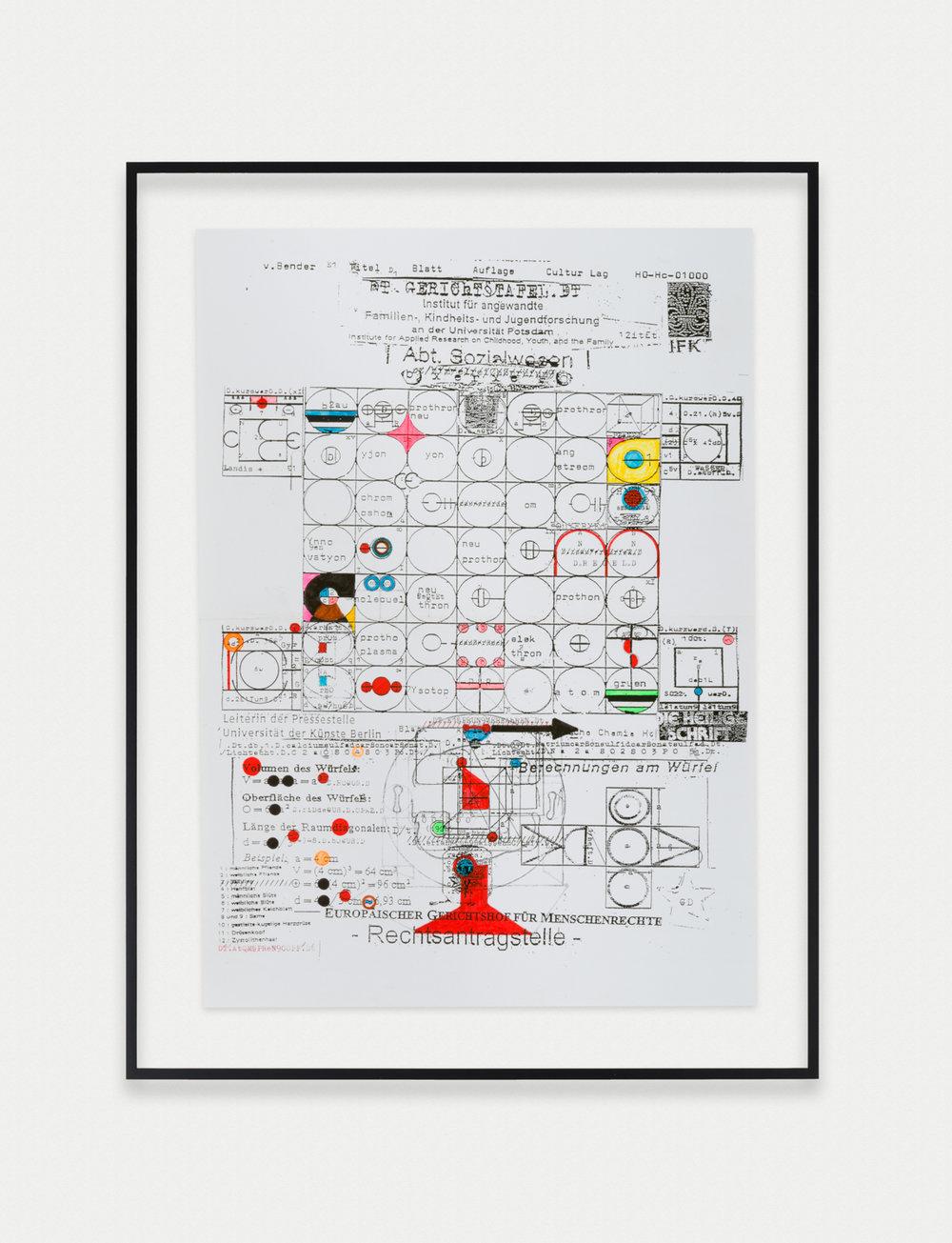 Adelhyd van Bender Untitled 1999-2014 Mixed media on photocopy 16.5 x 11.75 in (41.91h x 29.85w cm) AVB023