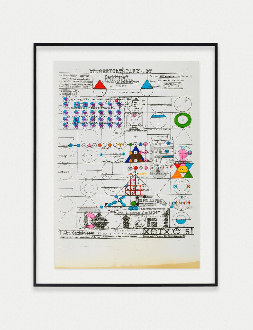 Adelhyd van Bender Untitled 1999-2014 Mixed media on photocopy 16.5 x 11.75 in (41.91h x 29.85w cm) AVB024