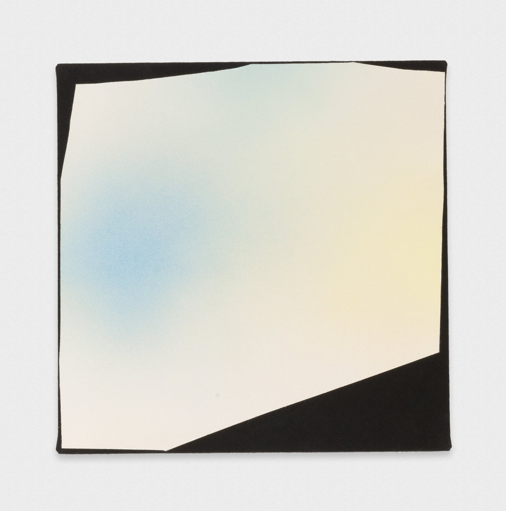 Kim Fisher  Magazine Painting (Blue and Yellow Spray)  2017 Oil on dyed linen on panel 20h x 20w in KF028