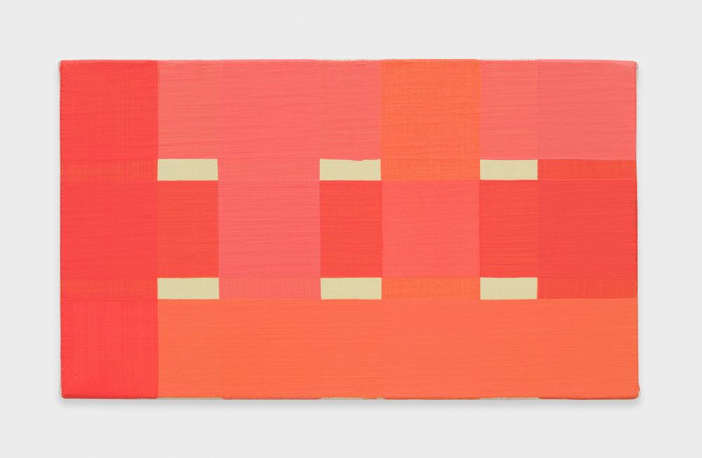 Yui Yaegashi Coral red Gekkoso, Kusakabe and Matsuda Super, 2016 Oil on canvas 6 1/4h x 10 7/8w in 15.88h x 27.62w cm YY086
