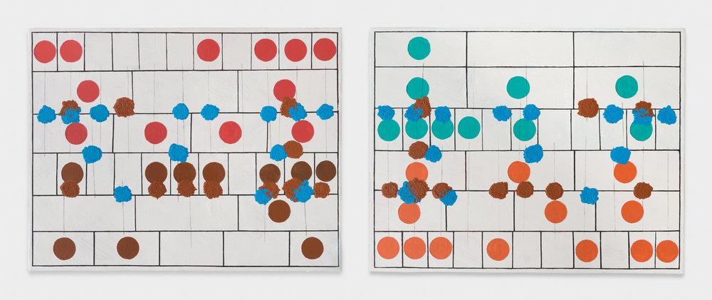 Maki Katayama  Pierre & Marie married life _Collision. 11 Binary method#3  2017 Oil on canvas 12 3/5 x 16 1/3 in MaK002