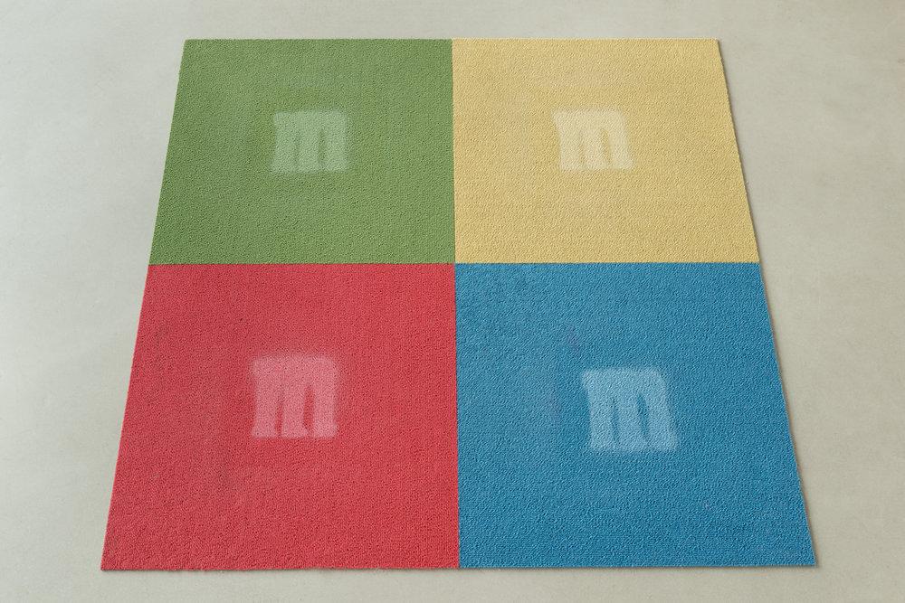Ken Kagami  M&M carpet tiles  2017 Spray paint on carpet tiles 39 1/3 x 39 1/3 in KK001