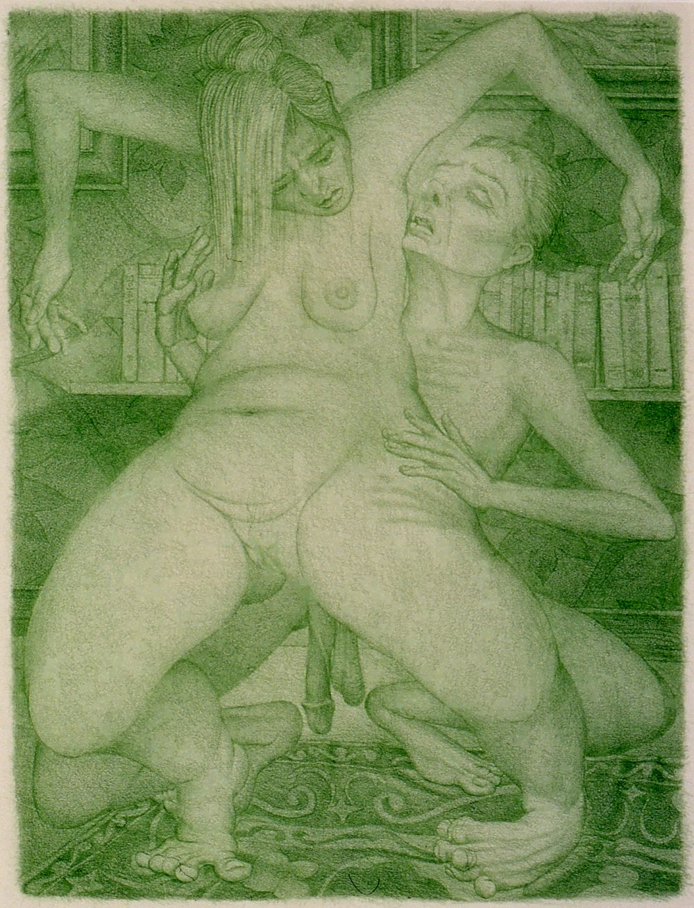 "Gerald Davis The Smelling Game 2005 Colored pencil on paper Three parts, 25 1/2"" x 30 3/4"" each"