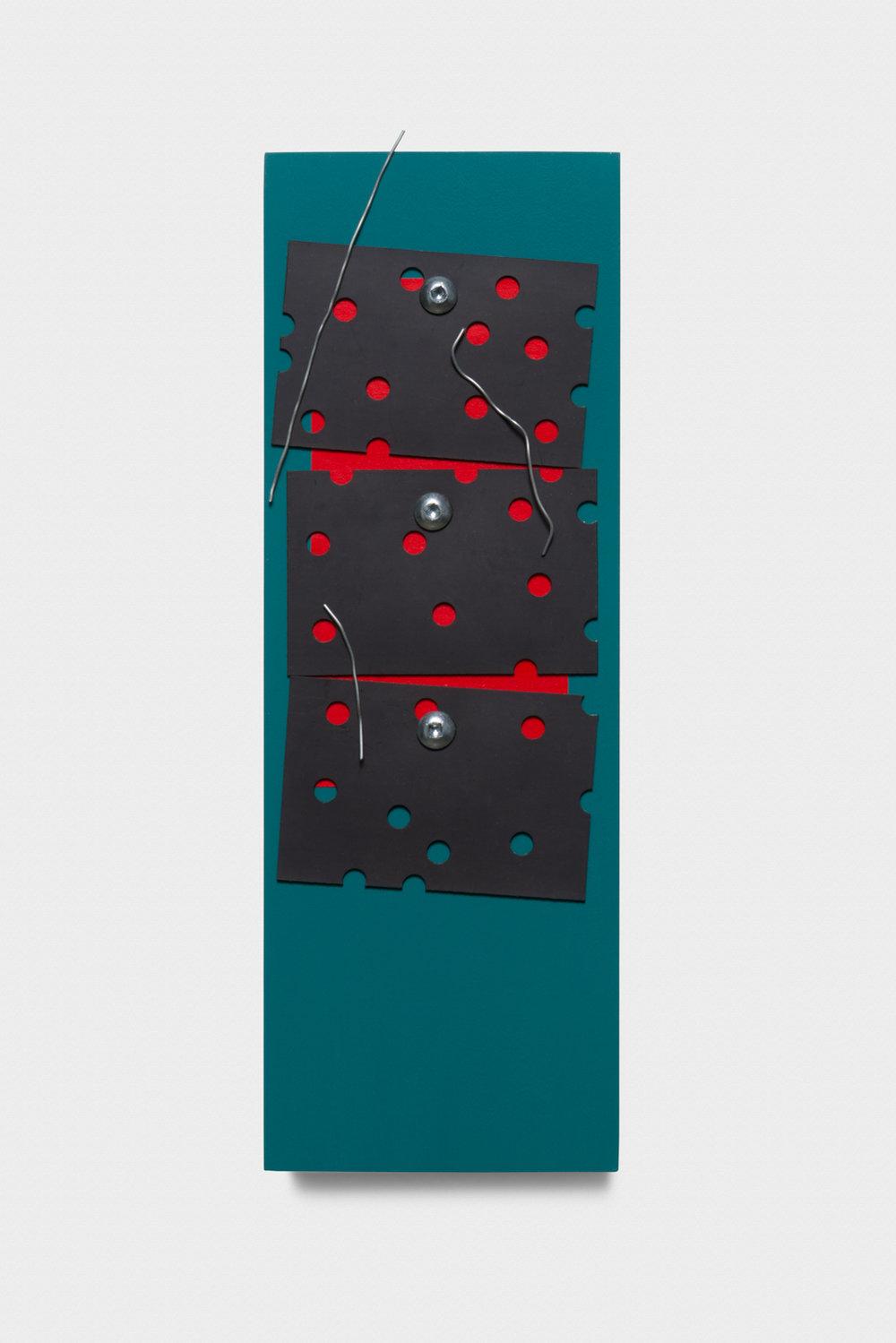 Vanessa Maltese  Chart no. 22  2014 Wood, paper, plexiglass, wire, hardware, acrylic, chalkboard paint 10h x 3 ½w x ¾d in VM003