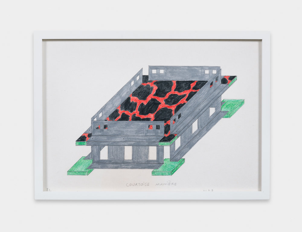 Nathalie Du Pasquier  Fruit bowl (Objects for the electronic age) , 1984 Color crayon on paper 8 3/4 x 12 1/4 in ND005
