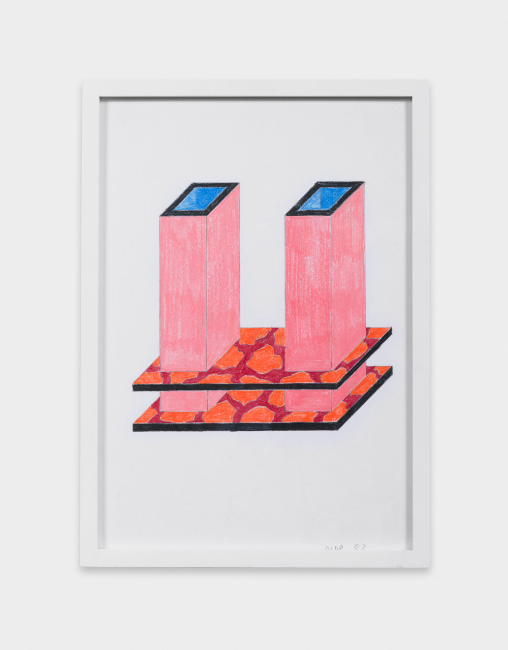 Nathalie Du Pasquier  Project for a vase for two flowers , 1983 Color crayon on paper 12 1/4 x 8 3/4 in ND004