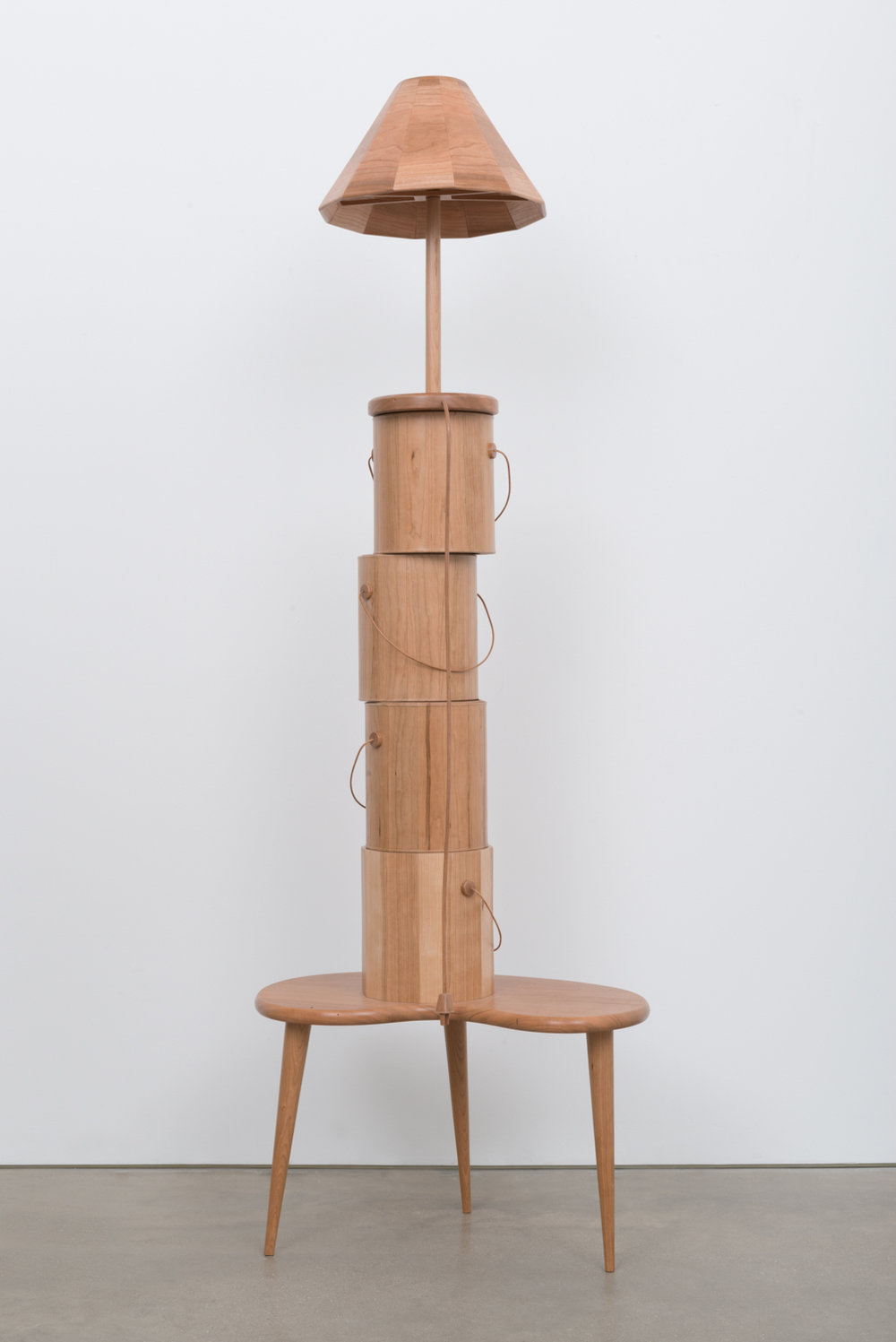 Chris Bradley  Stack (Cherry) with Nightstand  2017 Wood, steel, hardware 63h x 22w x 14d in CB228