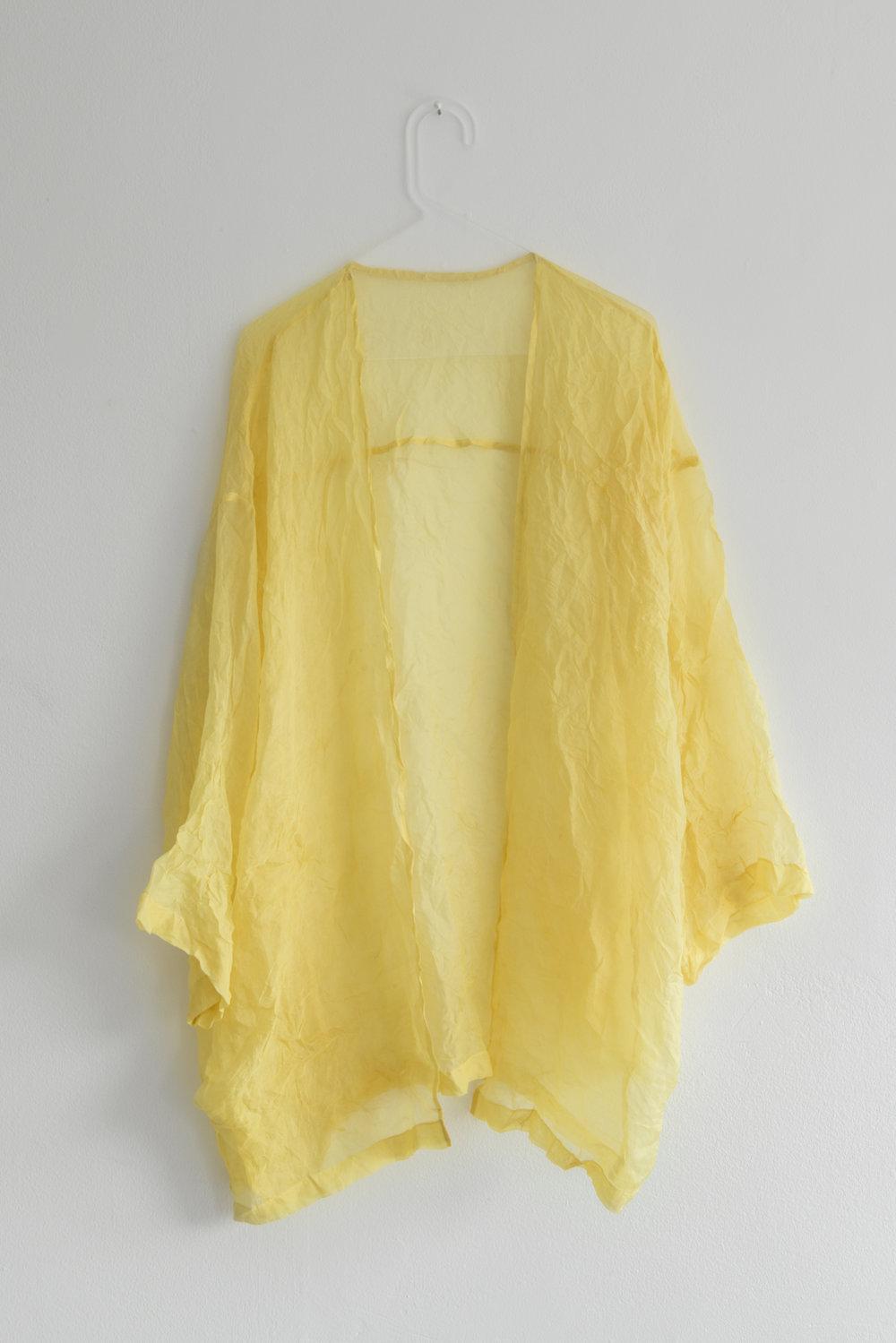 Kristin Dickson-Okuka Solar Plexus Chakra, Yellow Oxalis / sourgrass dyed silk organza with plexi hanger