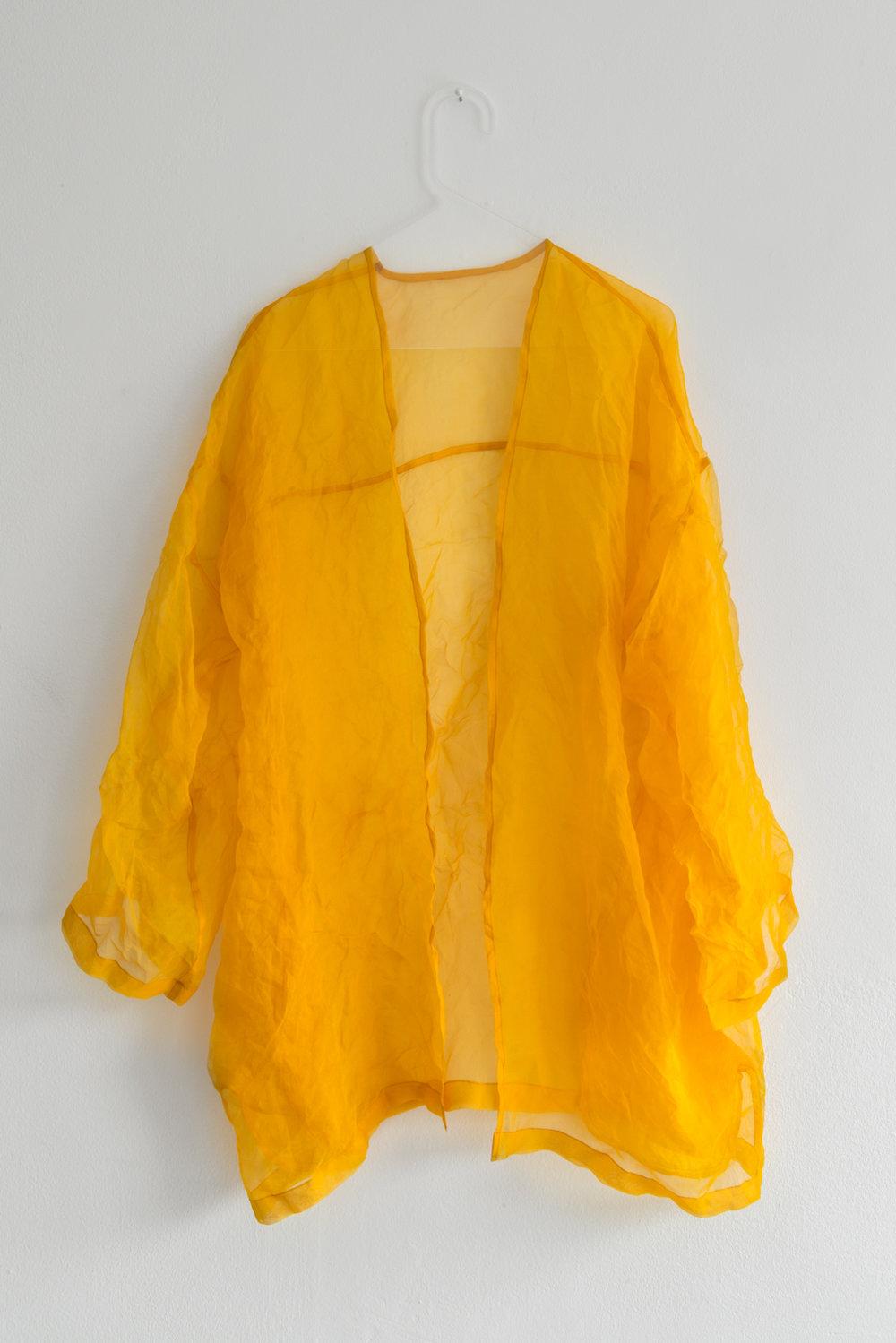 Kristin Dickson-Okuka Sacral Chakra, Orange Tumeric dyed silk organza with plexi hanger