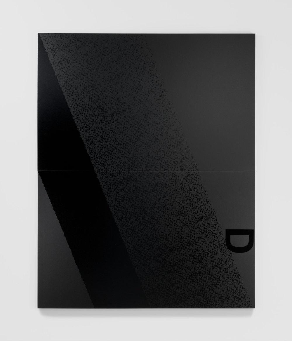 Adam Pendleton Black Dada (D) 2012 Silkscreen ink on canvas Two panels: 96h x 76w x 1 1/2d in overall; 48h x 76w x 1 1/2d in each panel