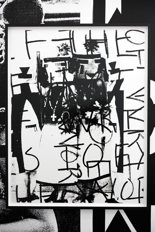Adam Pendleton Dada Dancers (large study) 2017 Silkscreen ink on Mylar 54 5/16h x 42 5/16w in