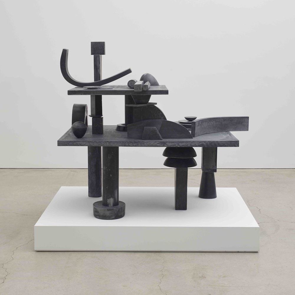 Erin Shirreff  Catalogue, 39 parts (Value Lesson)  2015 Hydrostone, pigment, graphite, steel armatures 57h x 65 ¼w x 53d in