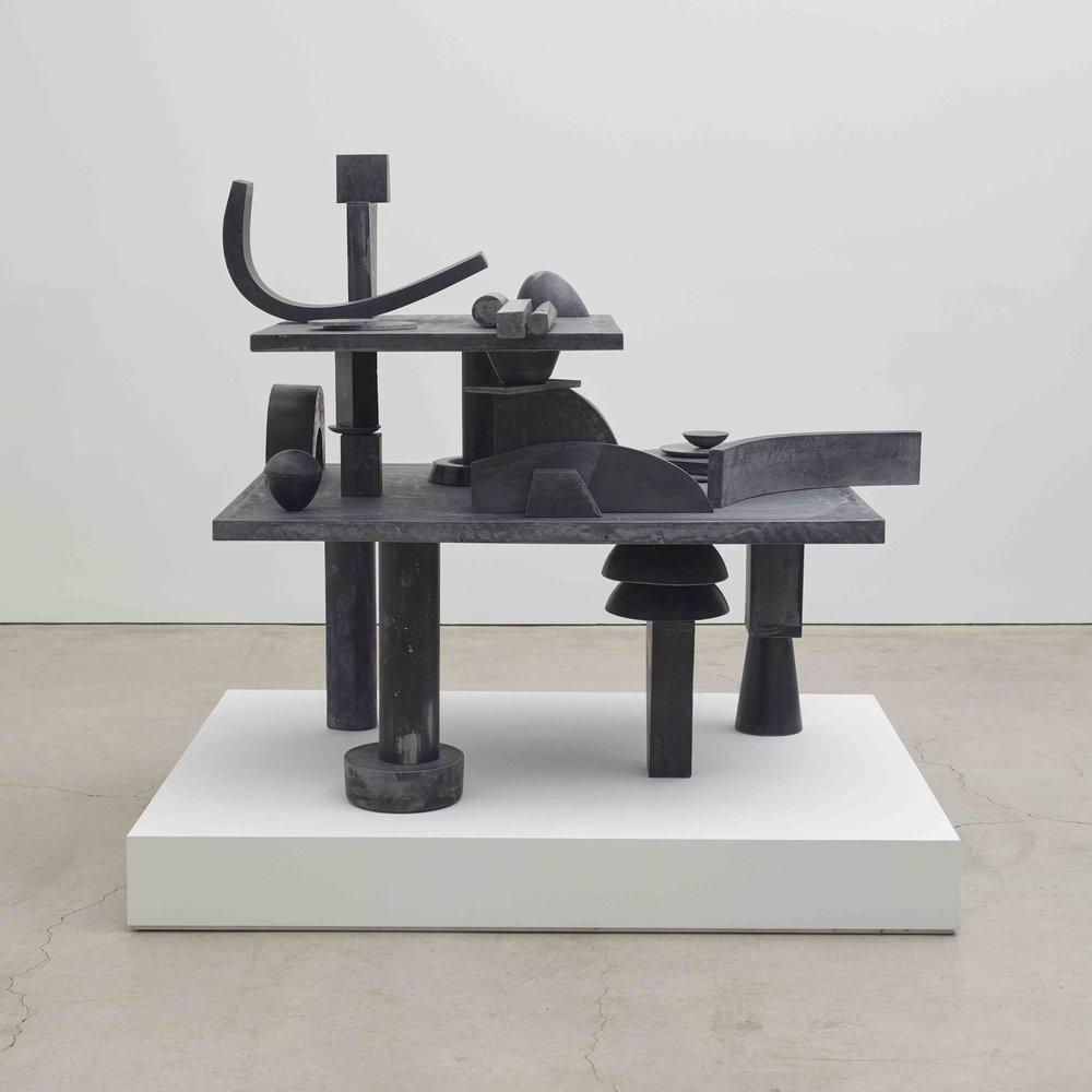 Erin Shirreff  Catalogue, 39 parts (Value Lesson)  2015 Hydrostone, pigment, graphite, steel armatures 57h x 65 ¼w x 53d in