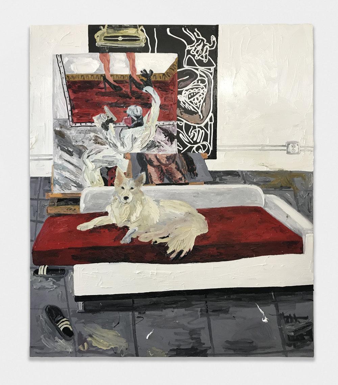 Alex Becerra  Fletch in the studio  2017 Oil on linen 98 ½h x 82 ½w in AB569