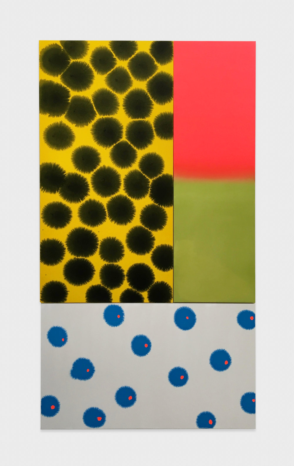 Paul Cowan  Not Yet Titled  2016 Acrylic and day-glo on canvas 74h x 42w in PC136