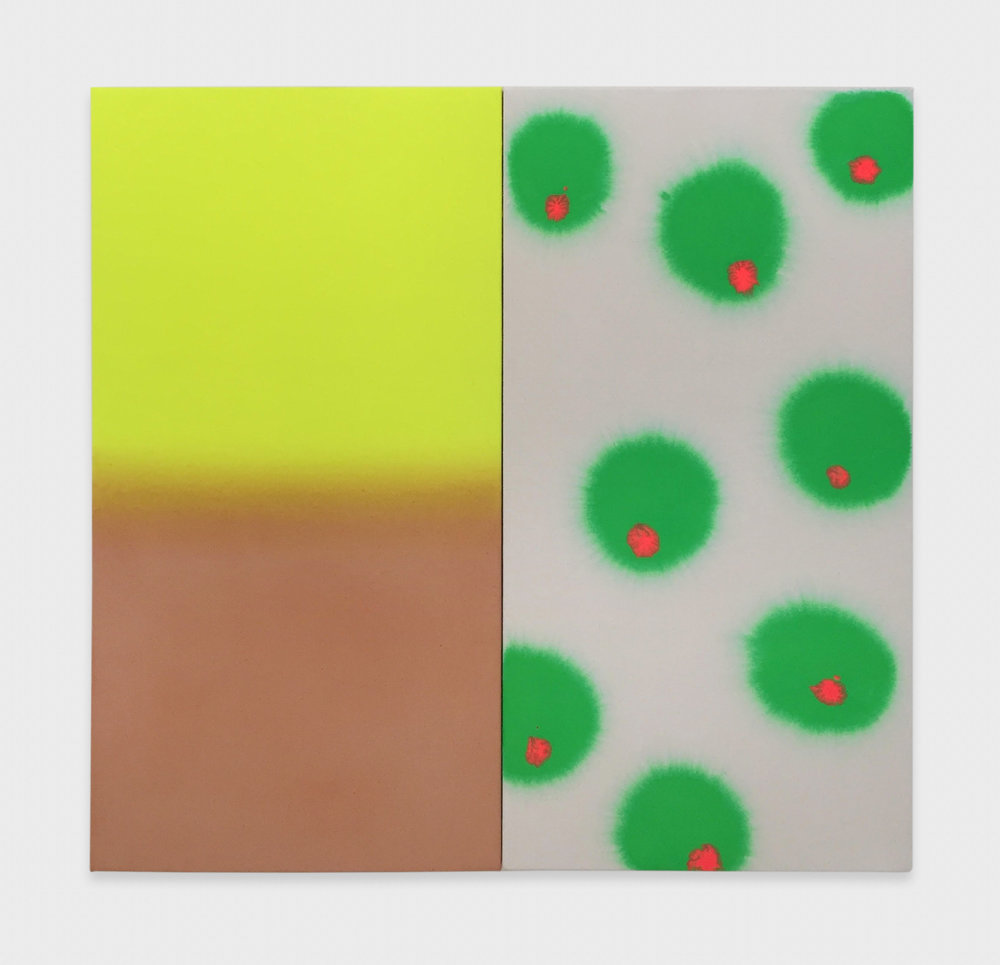 Paul Cowan  Not Yet Titled  2016 Acrylic and day-glo on canvas 25h x 26w in PC134