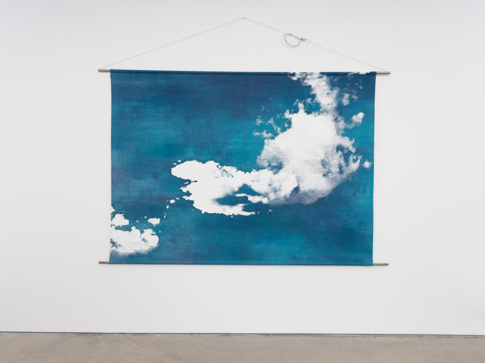 Jay Heikes  Mother Sky  2018 Dyed linen, oil, steel 54 ½h x 81w x ½d in JH150