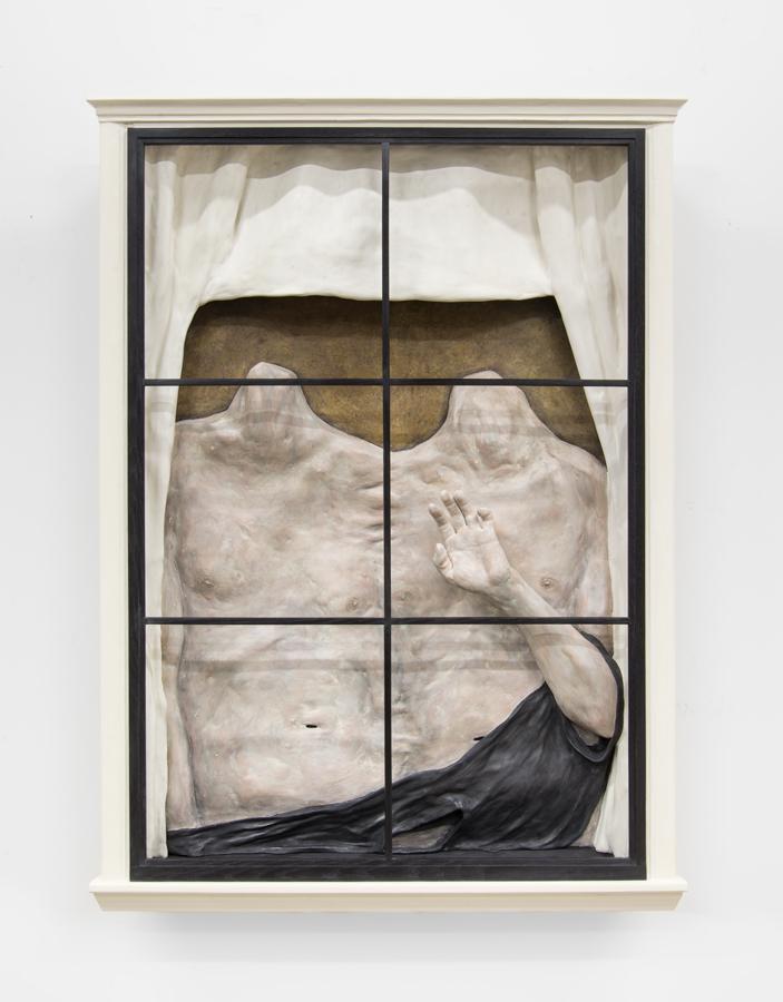 Dan Herschlein  The Listener  2017 Wood, plaster, casein paint, joint compound, wax 52h x 40w x 7d in DH004
