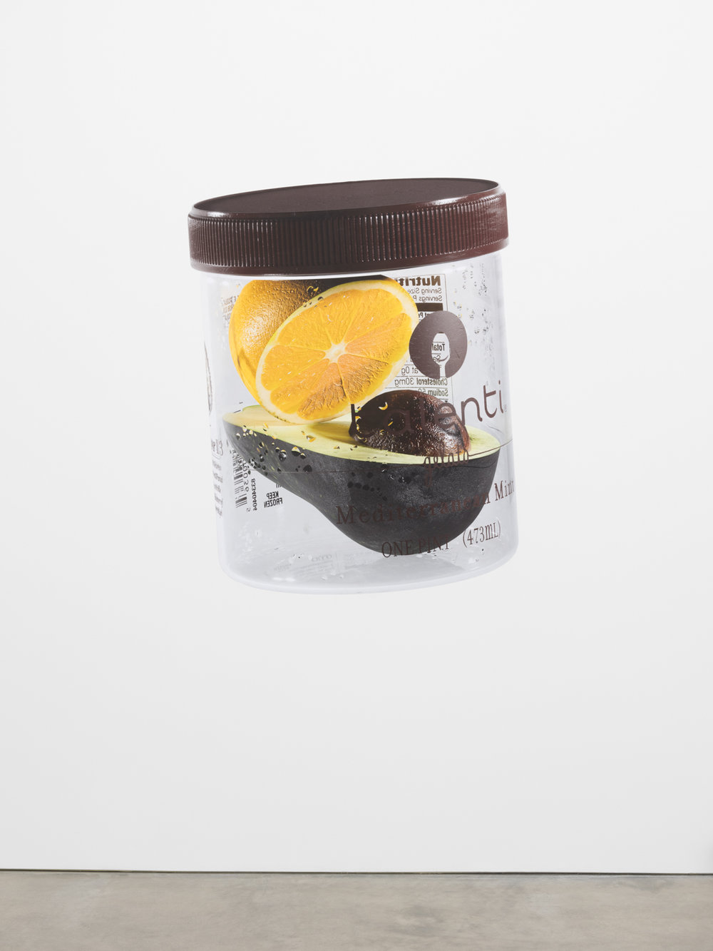 Asha Schechter  Talenti Container with Lemon and Avocado modeled and rendered by Orest Moskal  2017 Inkjet print on adhesive vinyl 54h x 43w in ASch003