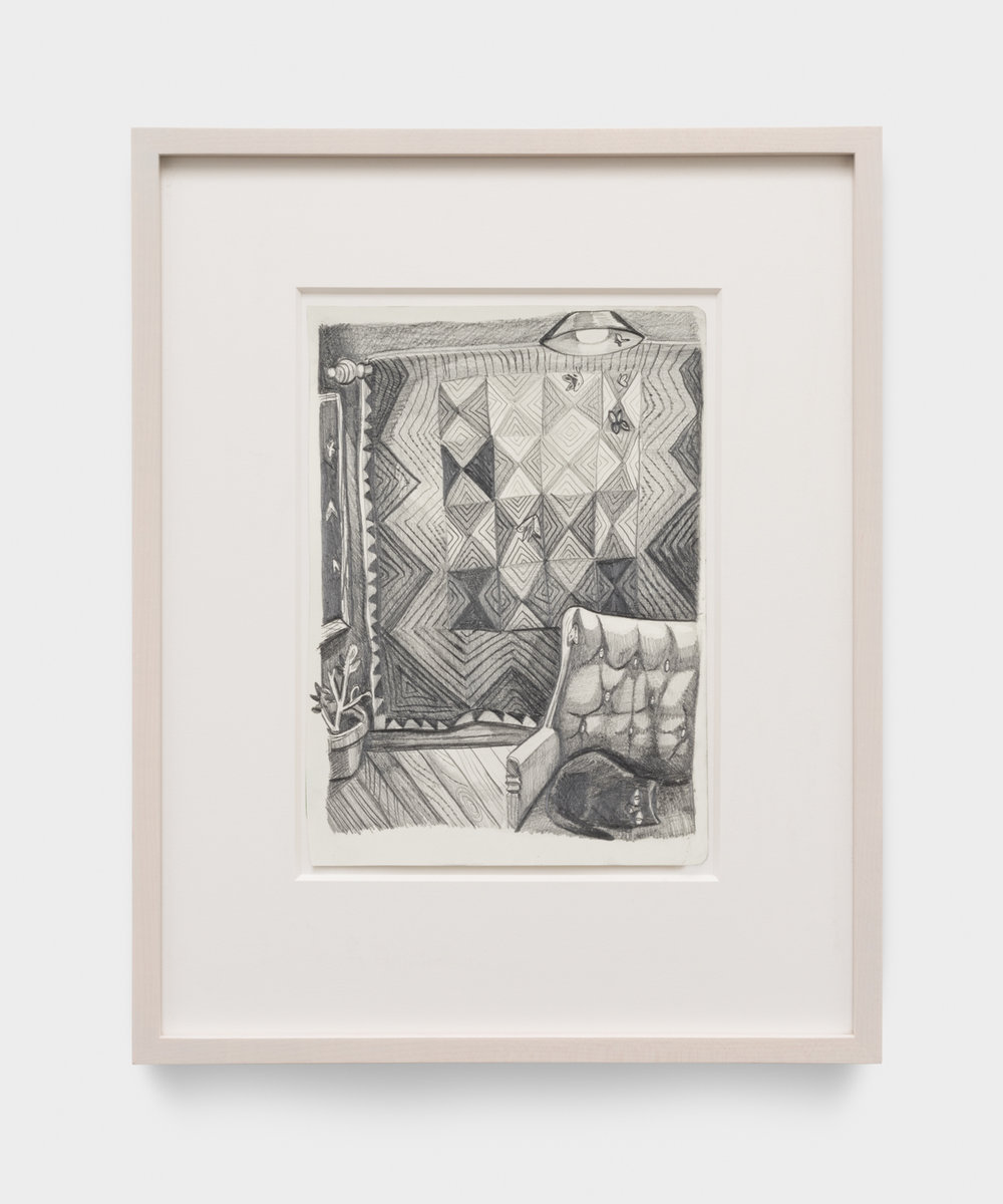 Nikki Maloof  Quilt with Moths II  2017 Graphite on paper 11 ¾h x 8 ¼w in NM028