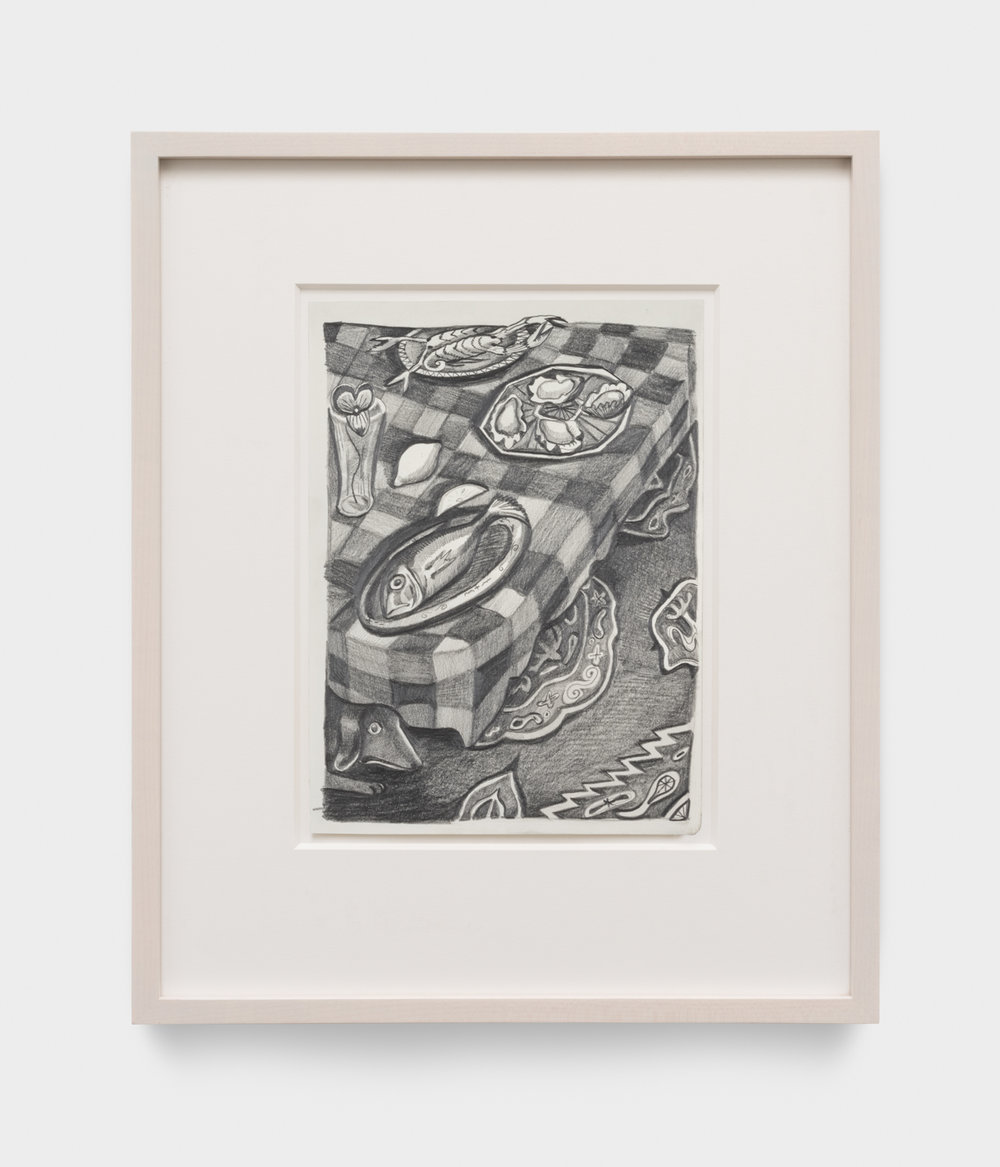 Nikki Maloof  Small Seafood Buffet  2018 Graphite on paper 11 ¾h x 8 ½w in 19h x 15 ½w in framed NM027