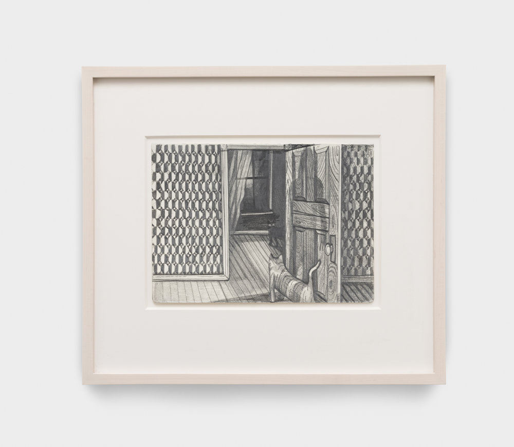 Nikki Maloof  Hallway  2017 Graphite on paper 8 ¼h x 11 ¾w in 16h x 19w in framed NM026