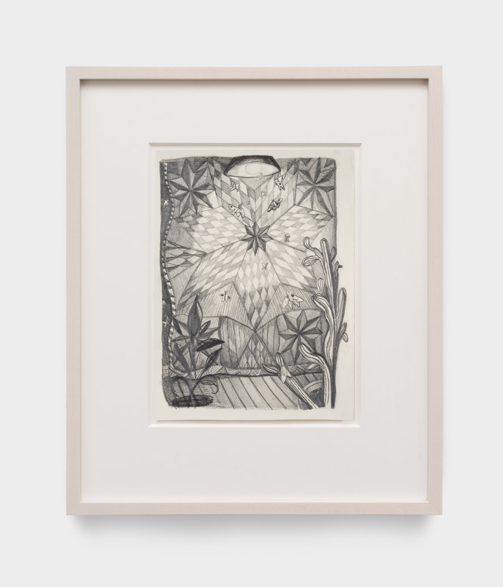 Nikki Maloof  Quilt with Moths   2018 Graphite on paper 11 ¾h x 8 ½w in 19h x 15 ½w in framed NM021