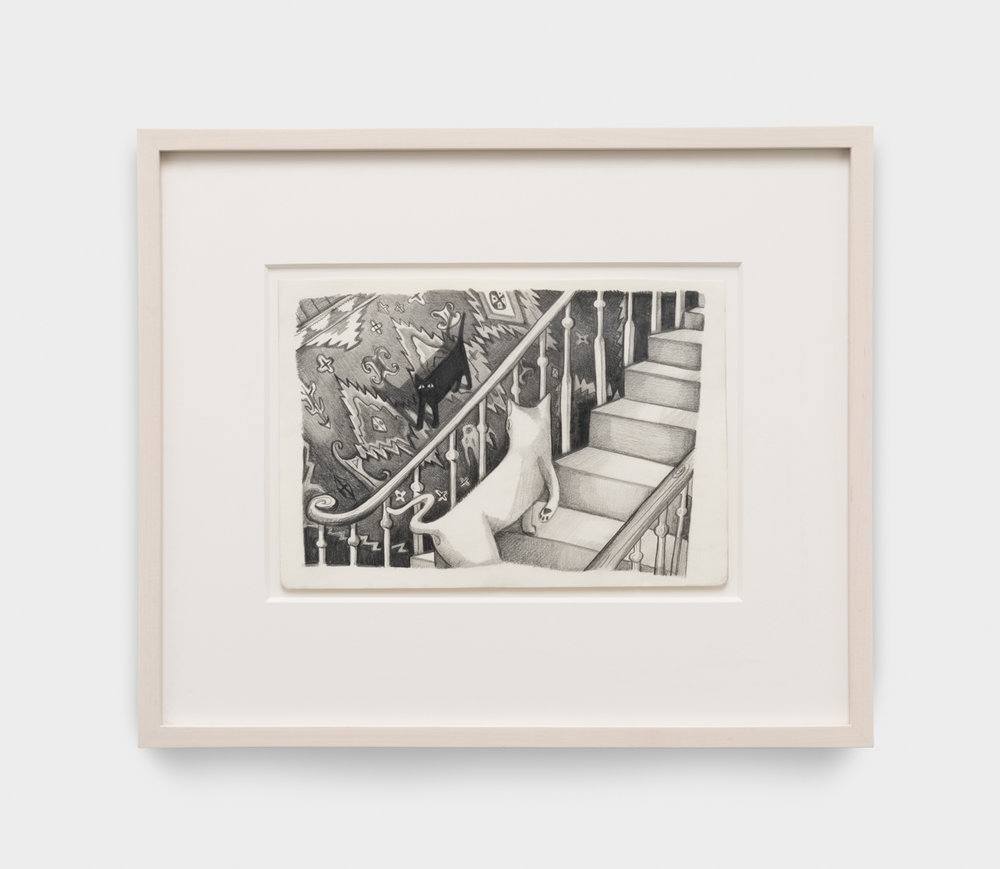 Nikki Maloof  The Staircase  2017 Graphite on paper 8 ¼h x 11 ¾w in 16h x 19w in framed NM019