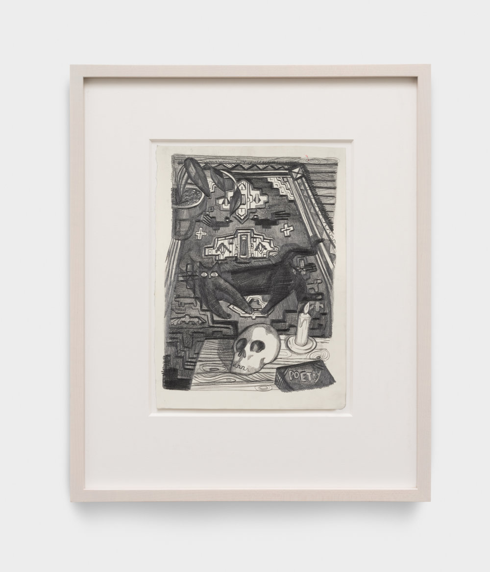Nikki Maloof  Cat Rug and Skull  2017 Graphite on paper 11 ¾h x 8 ½w in 19h x 15 ½w in framed NM022