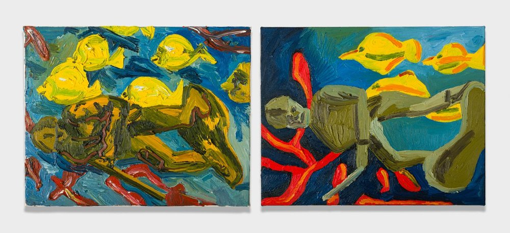 Alex Becerra and Matthew Clifford Green  Army Man and Seascape  2018 Oil on canvas Two elements, 16h x 20w in. each ABMCG012