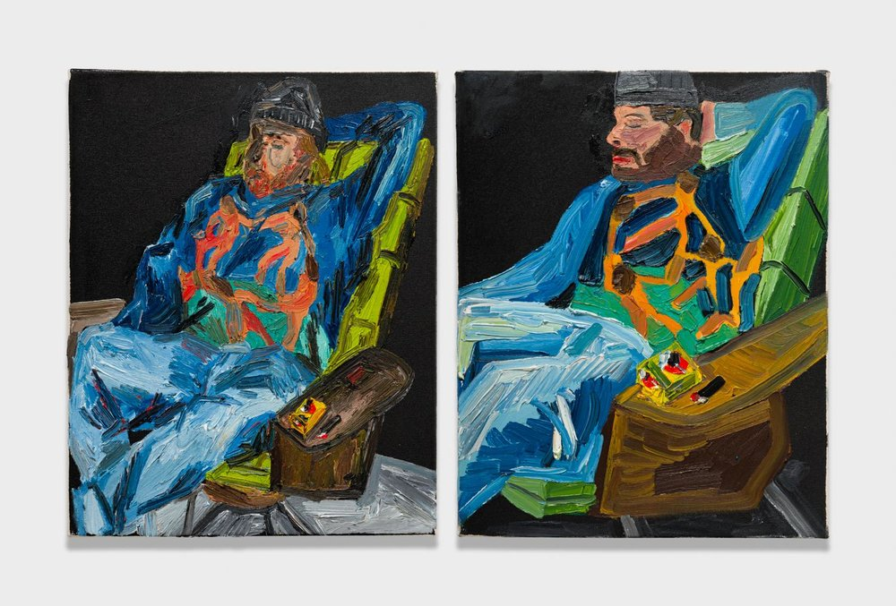 Alex Becerra and Matthew Clifford Green  Nicholas in a Matisse Shirt  2018 Oil on canvas Two elements, 20h x 16w in. each ABMCG013