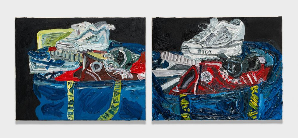 Alex Becerra and Matthew Clifford Green  Bag of Shoes  2018 Oil on canvas Two elements, 16h x 20w in. each ABMCG015