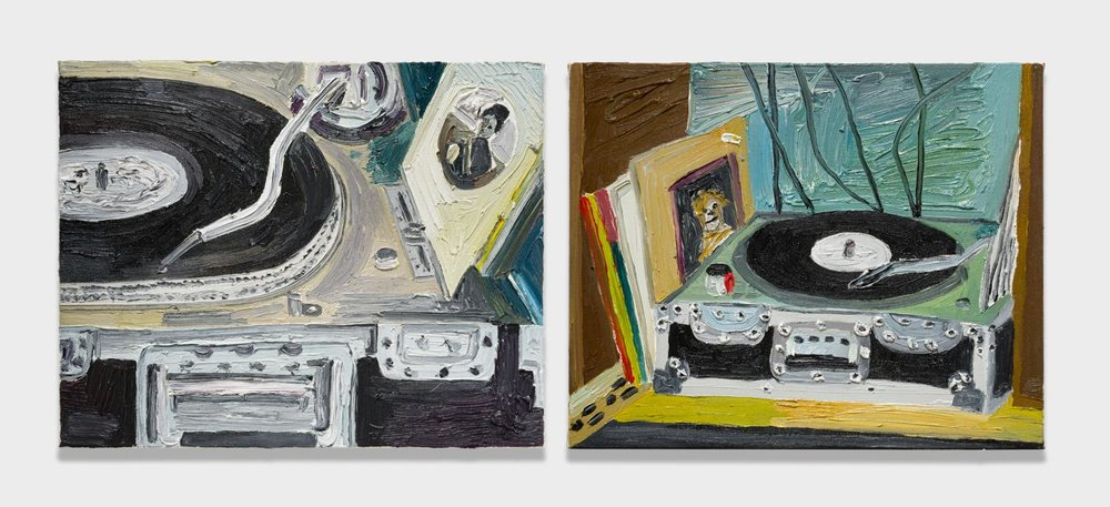 Alex Becerra and Matthew Clifford Green  In Stereo  2018 Oil on canvas Two elements, 16h x 20w in. each ABMCG016