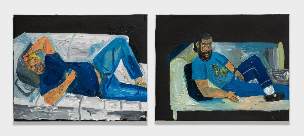 Alex Becerra and Matthew Clifford Green  Reclining Figures  2018 Oil on canvas Two elements, 16h x 20w in. each ABMCG018