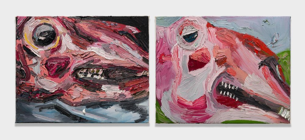 Alex Becerra and Matthew Clifford Green  Sheep Head (close up)  2018 Oil on canvas Two elements, 16h x 20w in. each ABMCG023