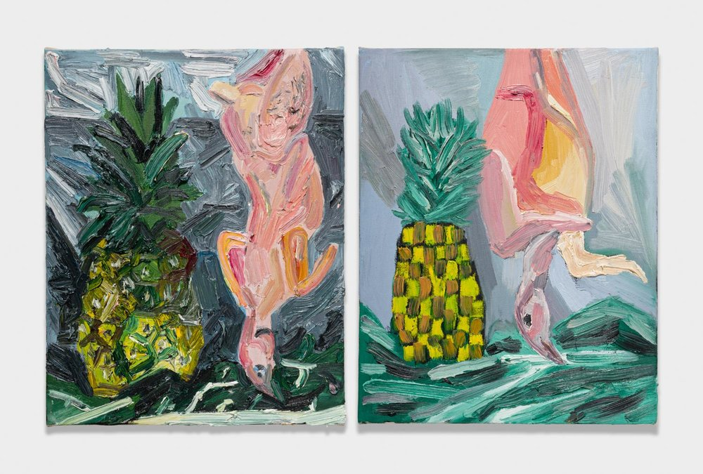 Alex Becerra and Matthew Clifford Green  Pineapple and Chicken  2018 Oil on canvas Two elements, 20h x 16w in. each ABMCG001