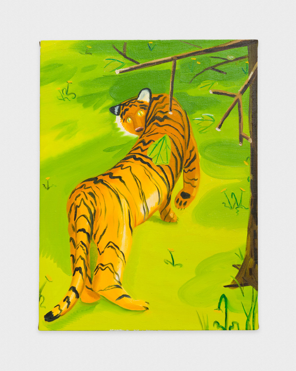 Nikki Maloof  Small Lonesome Tiger  2016 Oil on canvas 24h x 18w in NM001