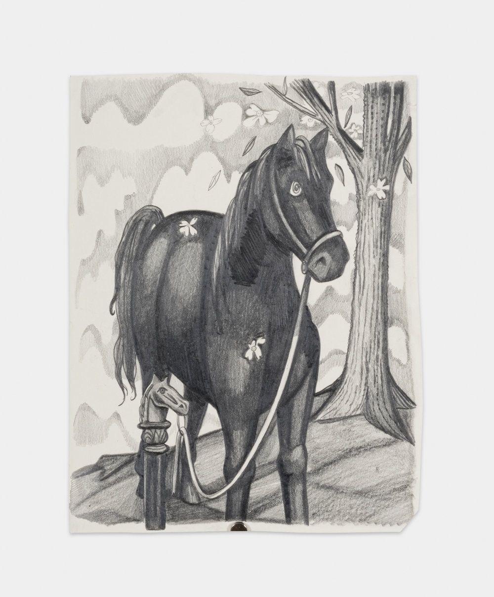 Nikki Maloof  Horse and Hitch  2017 Graphite on paper 11 ¾h x 8 ½w in NM013