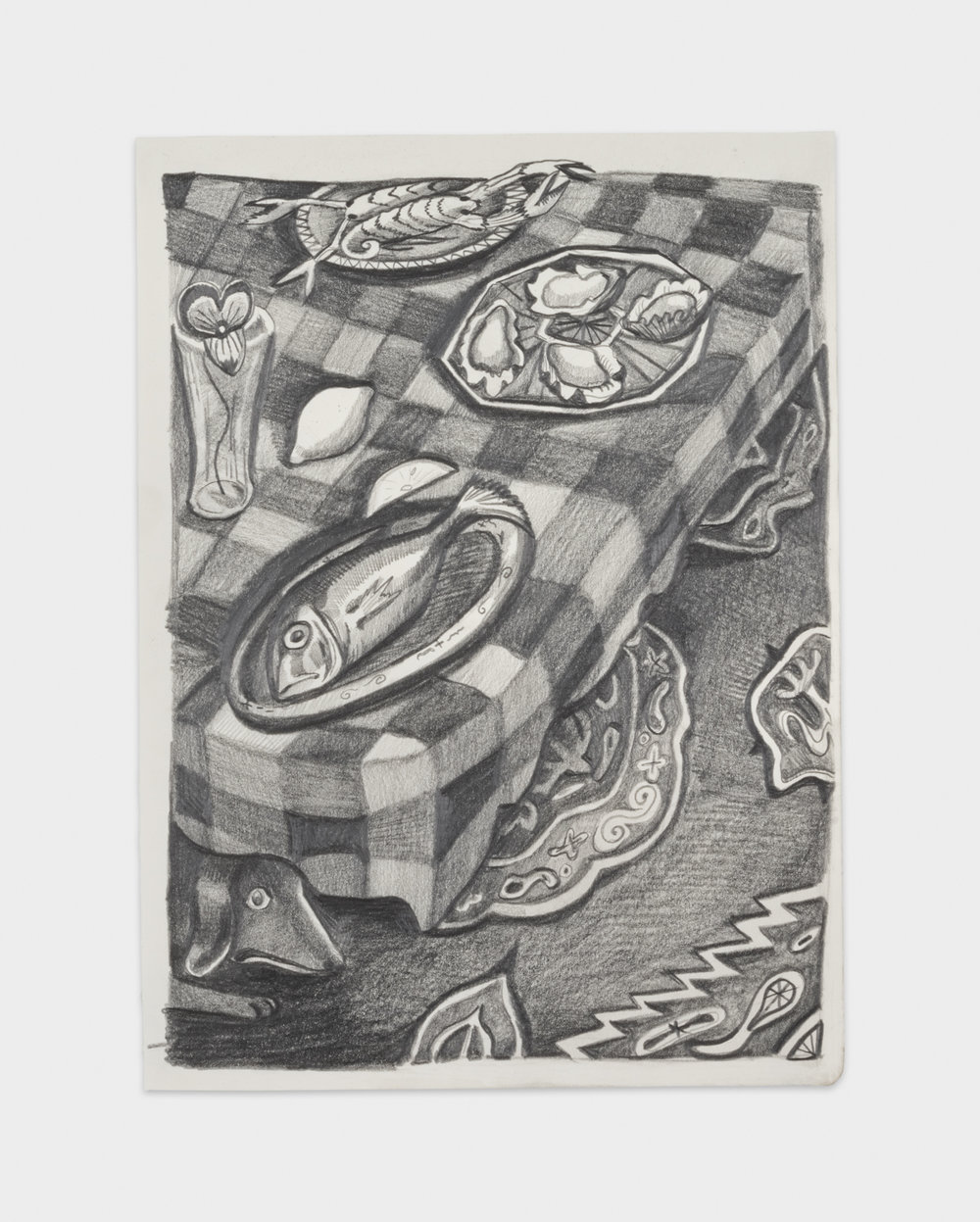 Nikki Maloof  Small Seafood Buffet  2018 Graphite on paper 11 ¾h x 8 ½w in NM027