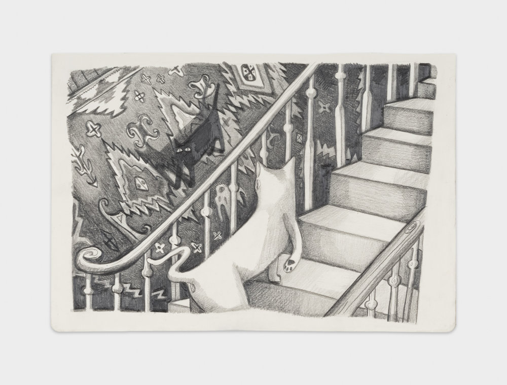 Nikki Maloof  The Staircase  2017 Graphite on paper 8 ¼h x 11 ¾w in NM019