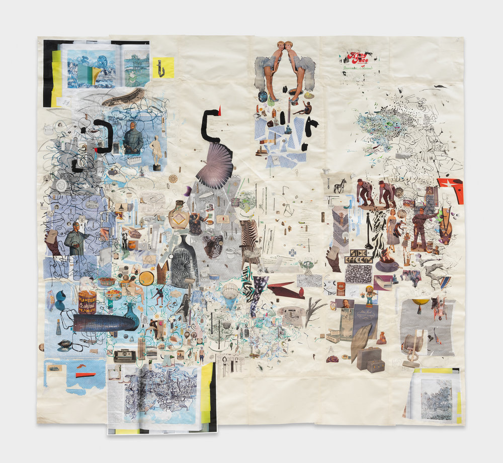 Elliott Hundley  King  2018 Collage, ink, and graphite on paper 63h x 67w in EHun005
