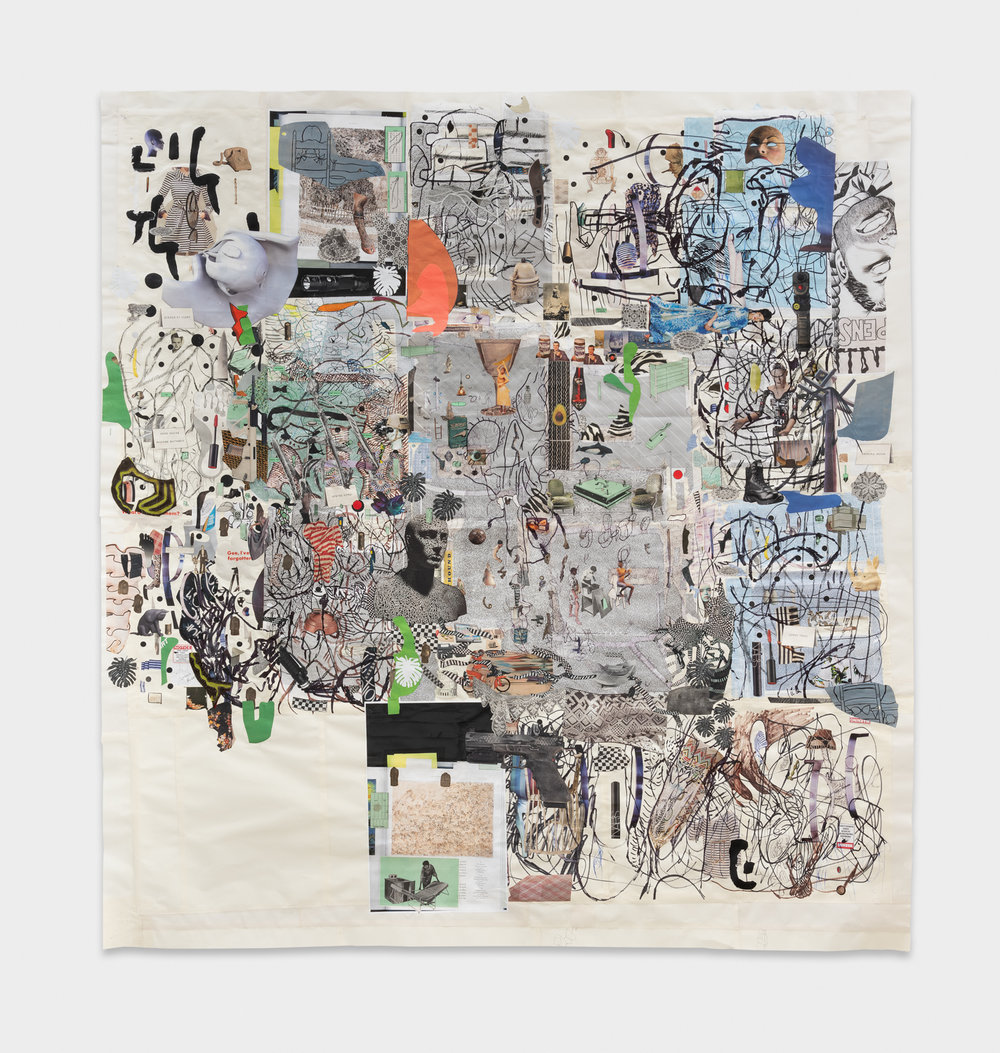 Elliott Hundley  Hour  2018 Collage, ink, charcoal, and fabric on paper 67 ¾h x 63 ½w in EHun004