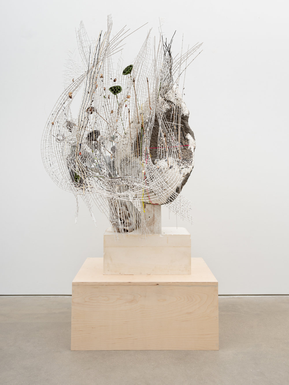 Elliott Hundley  Foot  2018 Plaster, foam, wood, plastic, pins, lotus, paper, string, and feathers 54h x 34w x 30d in EHun014