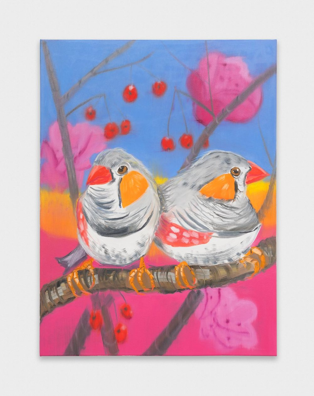 Ann Craven  Two Zebra Finches (Yellow Sunset with Cherries)  2018 Oil on canvas 40h x 30w in AC173