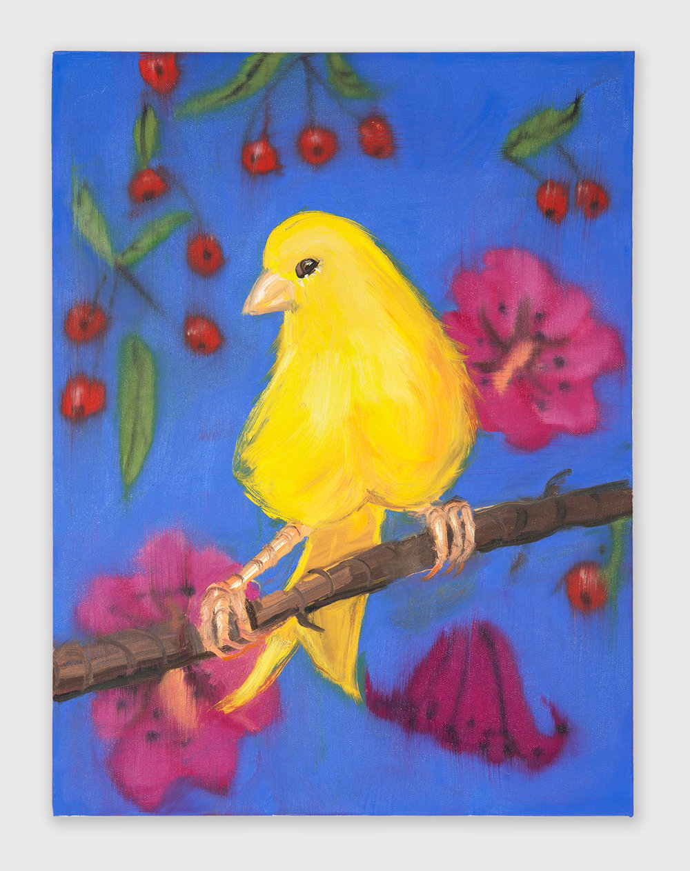 Ann Craven  Yello Fello (on Blue with Cherries)  2018 Oil on canvas 24h x 18w in AC171