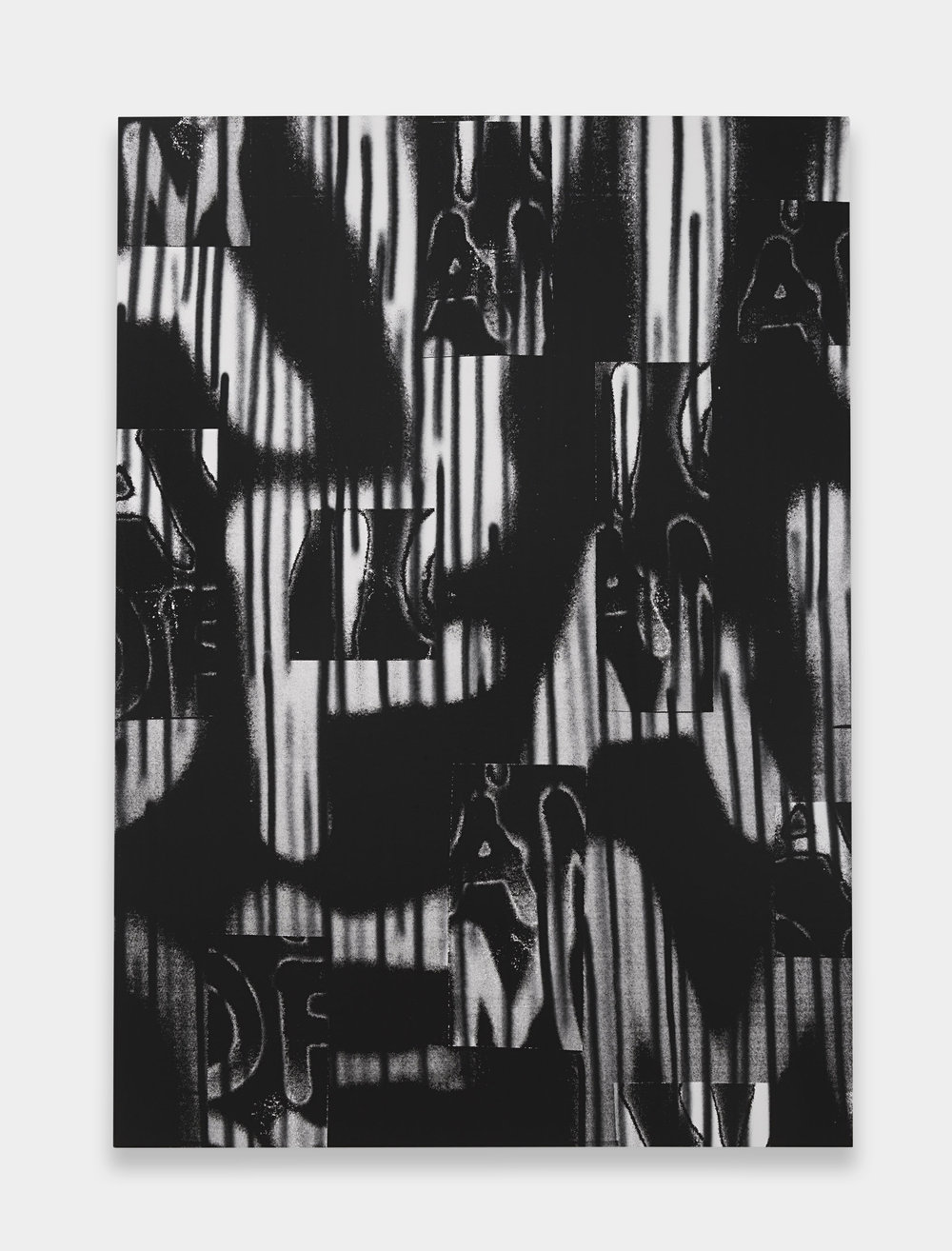 Adam Pendleton  Untitled (A Victim of American Democracy)  2017 Silkscreen ink and spray paint on canvas 84h x 60w in